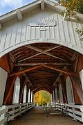 USA, Oregon, Pedee, Minnie Ritner Ruiter Wayside, Ritner Creek Bridge, covered bridge in early Autumn. Digital Composite, HDR
