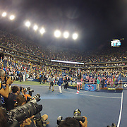 Photographers shooting the trophy presentation after Serena Williams, USA, beat Victoria Azarenka, Belarus, during the Women's Singles Final at the US Open, Flushing. New York, USA. 8th September 2013. Photo Tim Clayton