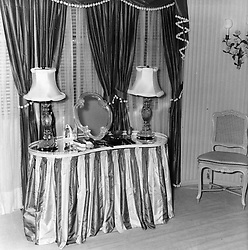 Interior shots of Aristotle Onassis's yacht Christina photographed in 1956.<br /> Picture shows The dressing-table in the boudoir which is next to the Onassis bedroom<br /> <br /> <br /> NON EXCLUSIVE - WORLD RIGHTS