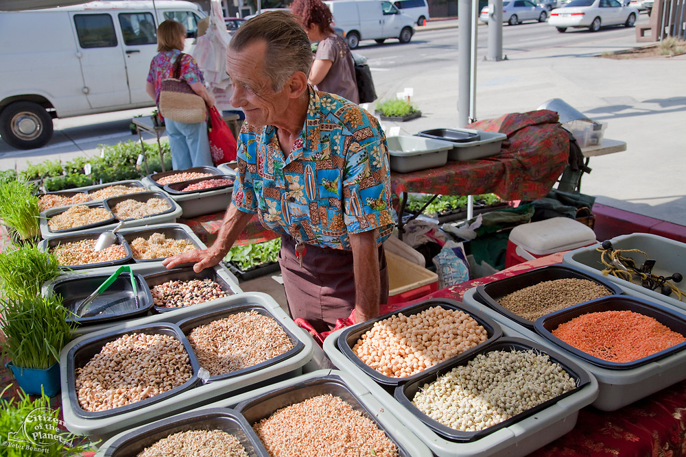 Sprout and Bean vendor at the Culver City Farmer's Market Tuesday afternoons, Culver City, Los Angeles, California, USA
