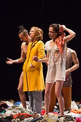 "© Licensed to London News Pictures. 8 April 2014. London, England. L-R: Romeu RUna, Elsie de Brauw and Berengere Bodin. Photocall for the UK premiere of Alain Platel's ""tauberbach"" performed by les ballet C de la B at Sadler's Wells, London. The piece is performed by dancers/actors Berengere Bodin, Elie Tass, Elsie de Brauw, Lisi Estaras, Remeu Runa and Ross McCormack. At Sadler's Wells on 8 and 9 April 2014. Photo credit: Bettina Strenske/LNP"