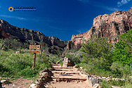 The Bright Angel Trail looking to the South Rim from Indian Garden in Grand Canyon National Park, Arizona, USA