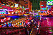 """12 JANUARY 2013 - BANGKOK, THAILAND:  Interior of Nana Entertainment Plaza in Bangkok. Prostitution in Thailand is illegal, although in practice it is tolerated and partly regulated. Prostitution is practiced openly throughout the country. The number of prostitutes is difficult to determine, estimates vary widely. Since the Vietnam War, Thailand has gained international notoriety among travelers from many countries as a sex tourism destination. One estimate published in 2003 placed the trade at US$ 4.3 billion per year or about three percent of the Thai economy. It has been suggested that at least 10% of tourist dollars may be spent on the sex trade. According to a 2001 report by the World Health Organisation: """"There are between 150,000 and 200,000 sex workers (in Thailand).""""    PHOTO BY JACK KURTZ"""