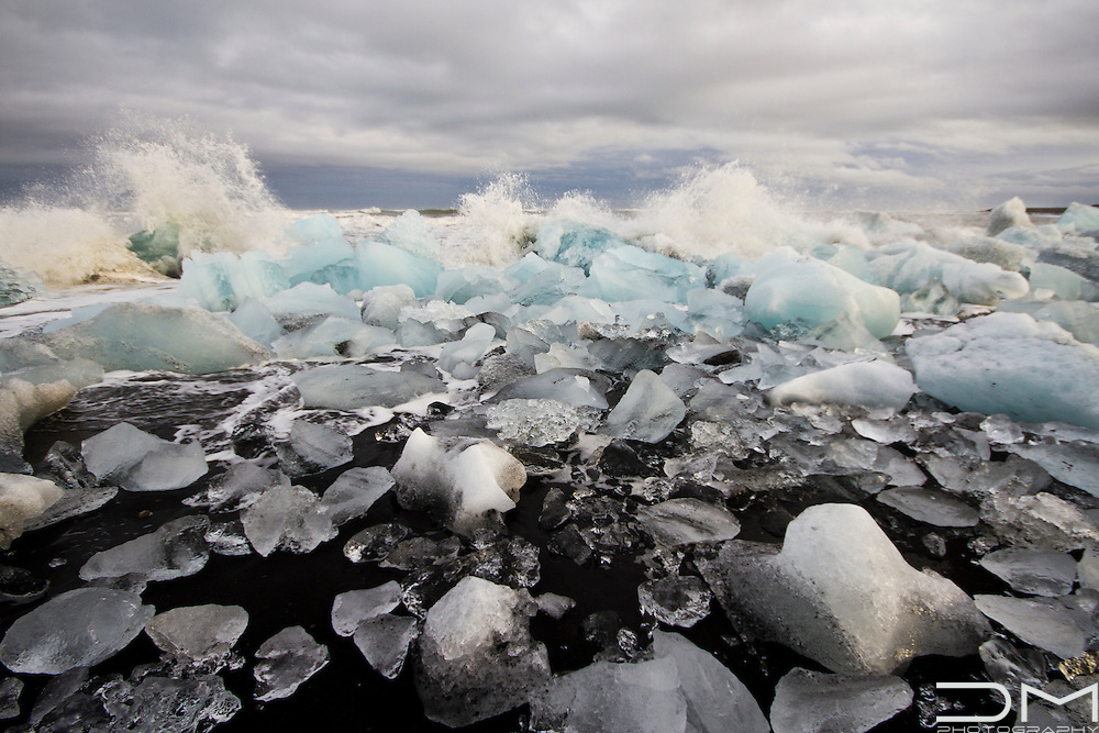 Glacier beach close to Jokulsarlon lake in Iceland