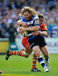 Ross Batty of Bath Rugby is tackled by Brad Thorn of Leicester Tigers - Photo mandatory by-line: Patrick Khachfe/JMP - Mobile: 07966 386802 23/05/2015 - SPORT - RUGBY UNION - Bath - The Recreation Ground - Bath Rugby v Leicester Tigers - Aviva Premiership Semi-Final