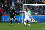 Alfie Mawson of Swansea city in action.   Premier league match, Swansea city v Leicester city at the Liberty Stadium in Swansea, South Wales on Saturday 21st October 2017.<br /> pic by  Andrew Orchard, Andrew Orchard sports photography.