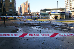 © Licensed to London News Pictures. 21/01/2020. London, UK. Scene outside Southwark Tube station after flooding from burst pipe. Photo credit: Dinendra Haria/LNP