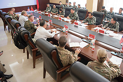 August 16, 2017 - Shenyang, Shenyang, China - U.S. Chairman of the Joint Chiefs Gen. Joseph Dunford, left, joins People's Liberation Army Gen. Song Puxuan, right, during roundtable discussions at Infantry Brigade Headquarters for the Chinese Northern Theater Command August 16, 2017 in Haichung, China. Dunford told Chinese leaders that the U.S. hoped diplomatic and economic pressure would convince North Korea to end its nuclear program, but that it was also preparing military options. (Credit Image: © Dominique A. Pineiro/Planet Pix via ZUMA Wire)
