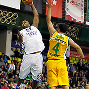 Anadolu Efes's Alfred Jamon Lucas (L) during their Turkish Basketball League match Anadolu Efes between Olin Edirne at the Ayhan Sahenk Arena in Istanbul, Turkey on Sunday, 17 March, 2013. Photo by TURKPIX