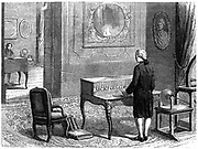 George Lesage (1724-1803), Swiss scientist, experimenting with the first electric telegraph, Geneva, 1774. Wood engraving, Paris, c1870