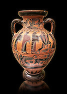 560-550 B.C Etruscan attica style amfora painted in the style of Lydos, inv 70995,   National Archaeological Museum Florence, Italy , black background .<br /> <br /> If you prefer to buy from our ALAMY PHOTO LIBRARY  Collection visit : https://www.alamy.com/portfolio/paul-williams-funkystock - Scroll down and type - Etruscan Florence - into LOWER search box. (TIP - Refine search by adding a background colour as well).<br /> <br /> Visit our ETRUSCAN PHOTO COLLECTIONS for more photos to download or buy as wall art prints https://funkystock.photoshelter.com/gallery-collection/Pictures-Images-of-Etruscan-Historic-Sites-Art-Artefacts-Antiquities/C0000GgxRXWVMLyc
