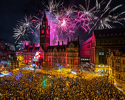 © Licensed to London News Pictures . FILE PICTURE DATED 01/01/2019 of thousands watching fireworks in Albert Square in Manchester City Centre as Mahdi Mohamud is due to appear at Manchester Crown Court today (Tuesday 26 November 2019) charged with 3 counts of attempted murder and 1 count contrary to Section 58 (1) (a), TACT 2000 which relates to the possession of a document or record likely to be useful to a person committing or preparing an act of terrorism . On the evening of 31st December 2018 , as thousands headed in to Manchester City Centre to watch New Years Day fireworks , three people including a British Transport Police Officer were stabbed and a man was tasered on a Metrolink platform of Victoria Train Station in Manchester . Photo credit : Joel Goodman/LNP