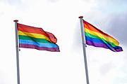 Nederland, the netherlands, nijmegen, 9-1-2019Bij een middelbare school hangenn zelfs twee regenboogvlaggen uit protest tegen de ondertekening door van der Staay van de Nashville-verklaring, declaration, die veel weerzin opriep bij een groot deel van de bevolking, met name de homo en lhbt gemeenschap. Veel scholen, kerken en gemeentehuizen deden hetzelfde .Foto: Flip Franssen