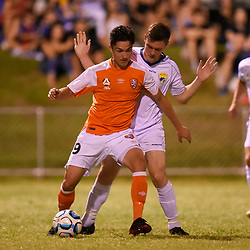 BRISBANE, AUSTRALIA - FEBRUARY 10: Brandon Reeves of United and Mirza Muratovic of the Roar compete for the ball during the NPL Queensland Senior Mens Round 2 match between Gold Coast United and Brisbane Roar Youth at Station Reserve on February 10, 2018 in Brisbane, Australia. (Photo by Football Click / Patrick Kearney)