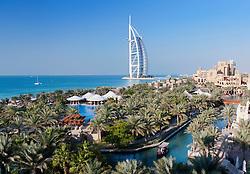 View of resort hotels at Madinat Jumeirah and Burj al Arab hotel in Dubai in United Arab Emirates
