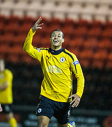 Falkirk's Lyle Taylor celebrates after scoring their fourth goal, for his hatrick..Airdrie United 1 v 4 Falkirk, 22/12/2012..©Michael Schofield.