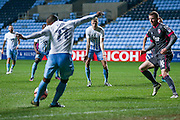 Coventry City midfielder Andy Rose (6) waits for the pull back as Coventry City midfielder Kyel Reid (11)  shoots  during the The FA Cup match between Coventry City and Morecambe at the Ricoh Arena, Coventry, England on 15 November 2016. Photo by Simon Davies.