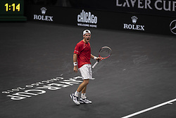 September 21, 2018 - Chicago, Illinois, U.S - DIEGO SCHWARTZMAN of Argentina yells in celebration as he looks to Team World's bench during the third singles match on Day One of the Laver Cup at the United Center in Chicago, Illinois. (Credit Image: © Shelley Lipton/ZUMA Wire)