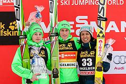 19.12.2015, Gross Titlis Schanze, Engelberg, SUI, FIS Weltcup Ski Sprung, Engelberg, im Bild Sieger: v.l. der jüngste Teilnehmer Domen Prevc (2. Platz) und sein Bruder Peter Prevc (Slowenien, 1. Platz) sowie der älteste Teilnehmer Noriaki Kasai (Japan, 3. Platz) // during mens FIS Ski Jumping World Cup at the Gross Titlis Schanze in Engelberg, Switzerland on 2015/12/19. EXPA Pictures © 2015, PhotoCredit: EXPA/ Eibner-Pressefoto/ Socher<br /> <br /> *****ATTENTION - OUT of GER*****