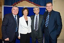 LIVERPOOL, ENGLAND - Friday, November 27, 2009: Former Everton, Liverpool and Tranmere Rovers player Dave Hickson with his wife Patricia, Ronnie Goodlass and Darren Griffiths at the Health Through Sport charity dinner at the Devonshire House. (Photo by David Rawcliffe/Propaganda)