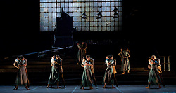 English National Ballet <br /> Triple Bill<br /> at Sadler's Wells, London, Great Britain <br /> rehearsal <br /> 7th September 2015 <br /> <br /> No Man's Land <br /> <br /> by Liam Scarlett <br /> <br /> Alina Cojocaru <br /> James Forbat <br /> <br /> Erina Takahashi <br /> Fabian Reimair <br /> <br /> Crystal Costa <br /> Max Westwell<br /> <br /> <br /> <br /> Photograph by Elliott Franks <br /> Image licensed to Elliott Franks Photography Services