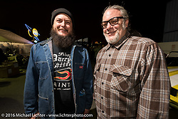 Arie VanSchyndel (L) and Chopper Dave Frestonchopp at the Monday night afterparty at Mooneyes Area One after the Mooneyes Yokohama Hot Rod & Custom Show. Yokohama, Japan. December 5, 2016.  Photography ©2016 Michael Lichter.