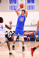 June 3, 2018 - Norwalk, CA, U.S. - NORWALK, CA - JUNE 03: Jaime Jaquez from Camarillo High School shoots a shot during the Pangos All-American Camp on June 3, 2018 at Cerritos College in Norwalk, CA. (Photo by Brian Rothmuller/Icon Sportswire) (Credit Image: © Brian Rothmuller/Icon SMI via ZUMA Press)