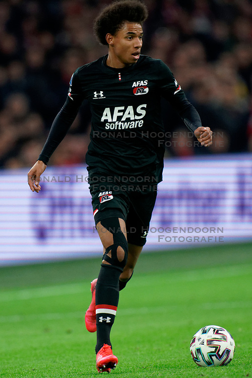 Calvin Stengs #7 of AZ Alkmaar in action during the Dutch Eredivisie match round 25 between Ajax Amsterdam and AZ Alkmaar at the Johan Cruijff Arena on March 01, 2020 in Amsterdam, Netherlands