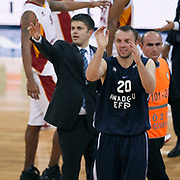Anadolu Efes's Dusko SAVANOVIC (C) during their BEKO Basketball League derby match Galatasaray between Anadolu Efes at the Abdi Ipekci Arena in Istanbul at Turkey on Sunday, November 13 2011. Photo by TURKPIX
