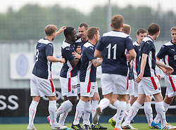 Falkirk's Ollie Durojaiye cele scoring their first goal. Falkirk  2 v 2 Rotherham Utd, pre-seaon friendly.<br /> © Michael Schofield.