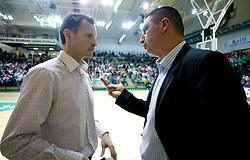 Both coaches of Helios Rado Trifunovic and Predrag Radovic at UPC basketball league match between KK Krka and KK Helios Domzale, on April 4, 2009, in Hall Leon Stukelj, Novo mesto, Slovenia. (Photo by Vid Ponikvar / Sportida)
