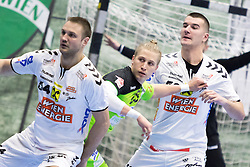 03.02.2017, BSFZ Suedstadt, Maria Enzersdorf, AUT, HLA, SG INSIGNIS Handball WESTWIEN vs HC FIVERS WAT Margareten, HLA Oberes Playoff, 1. Runde, im Bild Vytautas Ziura (HC FIVERS WAT Margareten), Wilhelm Jelinek (SG INSIGNIS Handball WESTWIEN), Stefan Jovanovic (HC FIVERS WAT Margareten) // during Handball League Austria, upper play off, 1 st round match between SG INSIGNIS Handball WESTWIEN and HC FIVERS WAT Margareten at the BSFZ Suedstadt, Maria Enzersdorf, Austria on 2017/02/03, EXPA Pictures © 2017, PhotoCredit: EXPA/ Sebastian Pucher