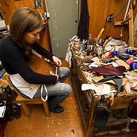 Venice  Daniela Ghezzo  Handmade Shoes in Venice.Daniela, who owns this workshop, decided to follow in the footsteps of the master shoemaker Rolando Segalin. Her skilled hands and imagination work together to produce a highly diverse range of handmade shoes. From classic brogues to contemporary footwear you are sure to find something to satisfy even the most eccentric tastes...***Agreed Fee's Apply To All Image Use***.Marco Secchi /Xianpix.tel +44 (0)207 1939846.tel +39 02 400 47313. e-mail sales@xianpix.com.www.marcosecchi.com