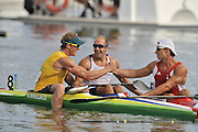 Shunyi, CHINA. Great Britain's,  Saturdays  Men's Kayak single [K1] 500m, final, left,  AUS Ken WALLACE, is congratulated by centre, GBR K1 Tim BRABANTS and right, Adam van KOEVERDEN  at the 2008 Olympic Canoe/Flatwater Racing, Shunyi Rowing-Canoeing Course. Saturday - 23/08/2008,  [Mandatory Credit: Peter SPURRIER, Intersport Images]
