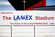Ground shot of The Lamex Stadium signage during the EFL Sky Bet League 2 match between Stevenage and Bradford City at the Lamex Stadium, Stevenage, England on 5 April 2021.