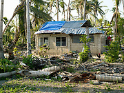 A house damaged by Typhoon Haiyan in Obo-ob village, Bantayan Island, The Philippines.