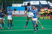Dalila Mirabella of Italy celebrates scroring in the penalty shoot out during their match against South Africa in the Investec Hockey World League Semi Final 2013, Quintin Hogg Memorial Sports Ground, University of Westminster, London, UK on 29 June 2013. Photo: Simon Parker