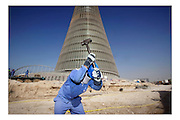 Doha, Qatar, Jan 23, 2007, Construction of the Aspire Sports City Tower for the Asian olympic games. PHOTO©Christophe Vander Eecken