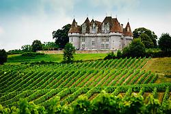 Chateau overlooking vineyards on the Cotes de Duras, Lot et Garonne, Aquitaine, France<br /> <br /> (c) Andrew Wilson | Edinburgh Elite media