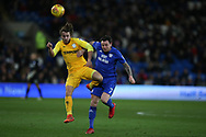 Ben Pearson of Preston NE is challenged by Lee Tomlin  of Cardiff city (r) . EFL Skybet championship match, Cardiff city v Preston North End at the Cardiff city stadium in Cardiff, South Wales on Friday 29th December 2017.<br /> pic by Andrew Orchard, Andrew Orchard sports photography.