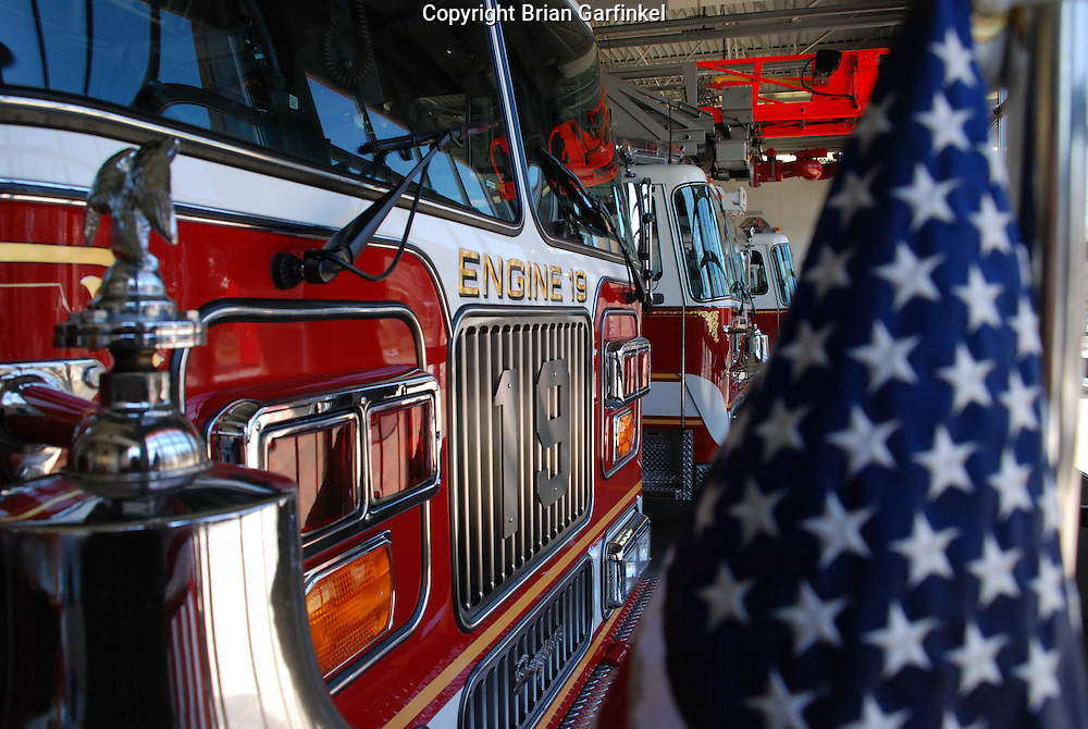 Lansdowne, Pennsylvania - An American flag is proudly displayed on the front of Engine 19. Engine 19 is this department's first out engine and was built by Seagraves.