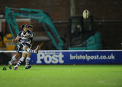 Bristol Rugby's Matthew Morgan kicks for goal - Photo mandatory by-line: Joe Meredith /JMP - Mobile: 07966 386802 - 06/03/2015 - SPORT - Rugby - Bristol - Ashton Gate - Bristol Rugby v Nottingham Rugby - Greene King IPA Championship