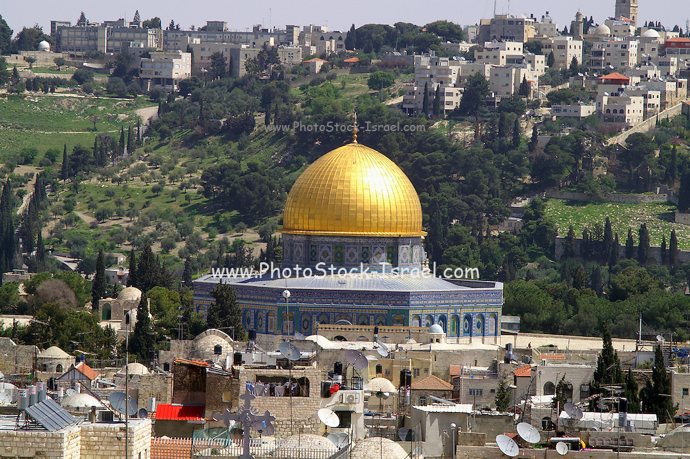 A view of the old city of Jerusalem and the dome of the rock with mount Olives in the background