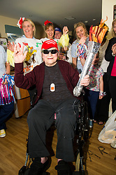 Pictured: Robert McCaldin had the honour of carrying the Olympic flame.<br /> <br /> First-ever care home games tournament took place over two days at Edinburgh's Inchview Care home. More than 90 athletes from other care homes gathered to  compete in events including javelin, curling and dancing. <br /> <br /> <br /> <br /> Ger Harley | EEm 27 July 2016