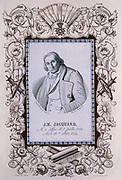 Joseph Marie Jacquard (1752-1834) French silk-weaver and inventor. Portrait woven by Jacquard loom, surrounded by printed border showing punched cards, paper for designing patterns, shuttles, bobbins, etc.