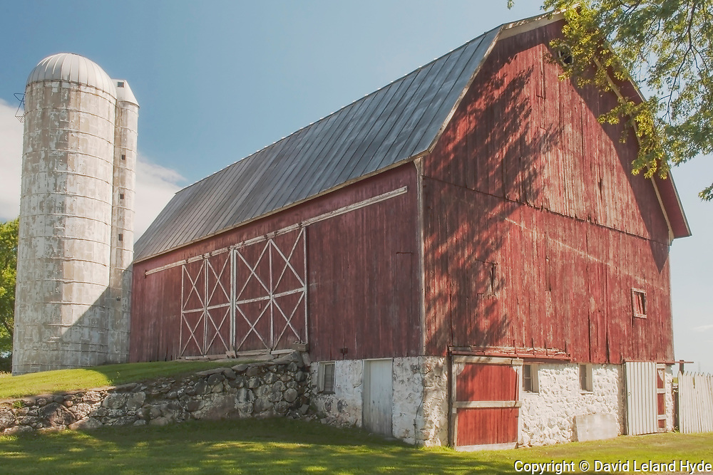 Red Bank Barn, Silver Silo, Weare, Michigan, Shade Trees, Rock Wall, Stone Wall, Blue Sky, Cumulus Clouds, Red Barns, White Wash, Green Pastures