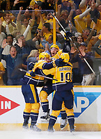 NASHVILLE, TN - MAY 22:  Colton Sissons #10 of the Nashville Predators celebrates with teammates after scoring during the third period against the Anaheim Ducks in Game Six of the Western Conference Final during the 2017 Stanley Cup Playoffs at Bridgestone Arena on May 22, 2017 in Nashville, Tennessee.  (Photo by Frederick Breedon/Getty Images)