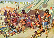 """JOSHUA AND THE FIVE KINGS. Joshua x. 24. """"And it came to pass, when they brought out those kings unto Joshua, that Joshua called for all the men of Israel, and said unto the captains of the men of war which went with him, Come near, put your feet upon the necks of these kings. And they came near, and put their feet upon the necks of them."""" From the book ' The Old Testament : three hundred and ninety-six compositions illustrating the Old Testament ' Part I by J. James Tissot Published by M. de Brunoff in Paris, London and New York in 1904"""