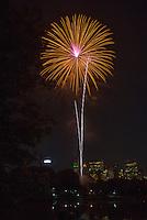 Fireworks in Central Park Lake. New York Skyline. Lady's Pavilion. New York Philharmonic.<br /> <br /> (Photo by Robert Caplin)