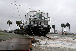 October 10, 2018 - Port St. Joe, Florida, U.S. - The Oceanis lay grounded by tidal surge at the Port St. Joe Marina in the Florida Panhandle on Wednesday (10/10/18) after Hurricane Michael made landfall near Mexico Beach. (Credit Image: © Douglas R. Clifford/Tampa Bay Times via ZUMA Wire)